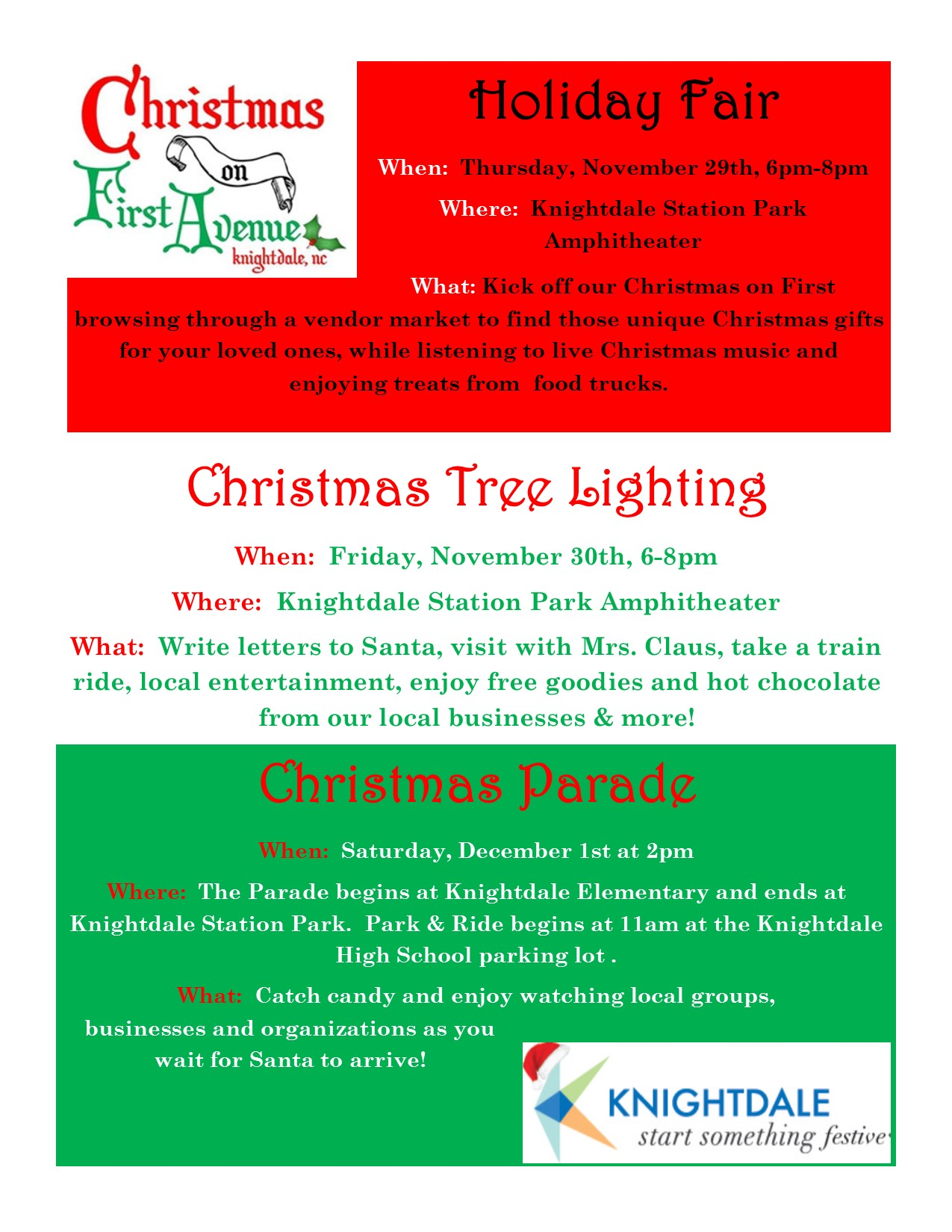 Knoghtdale Christmas Tree Lighting 2020 CHRISTMAS TREE LIGHTING   Town of Knightdale, NC | Kids Out and